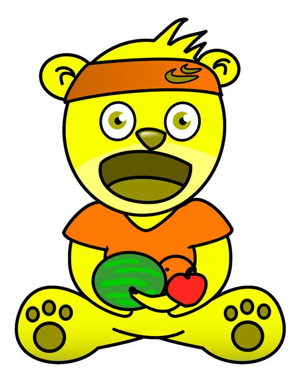 Fun pics for kids - Banana Bear - Gummy Worm friend