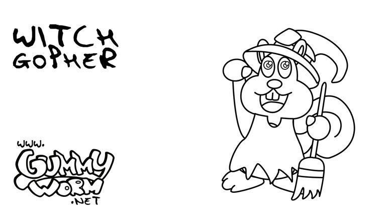 halloween drawing for children witch gopher gummy halloween