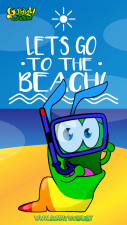 Gummy Worm go to the beach -Gummy Worm -Cards for Kids