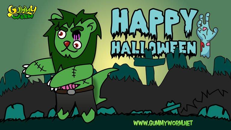 Lion Around Gummy Worm Friends Halloween eCards
